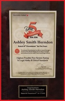Ashley Smith Herndon - AV Preeminent for 5 Years