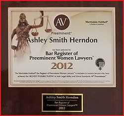 AV Preeminent 2012 Bar Register of Preeminent Women Lawyers